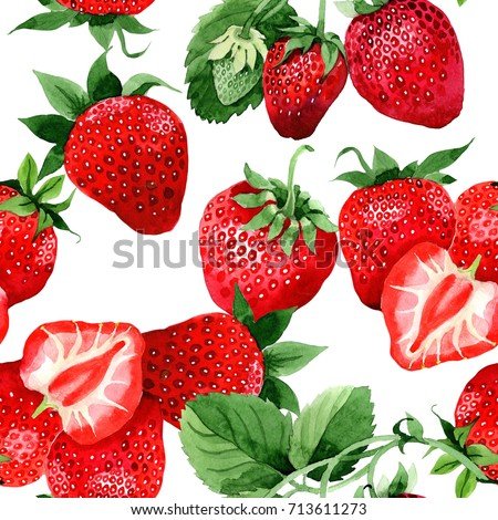 Strawberry healthy food pattern in a watercolor style. Full name of the fruit: strawberry. Aquarelle wild fruit for background, texture, wrapper pattern or menu.