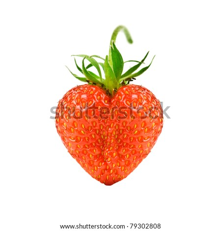 strawberry heart isolated on white background