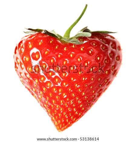 Strawberry-heart  isolated over a white background