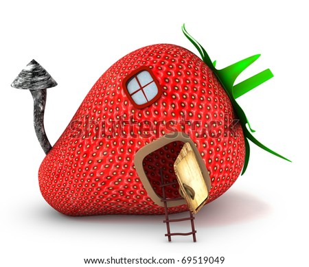 Strawberry house 3d rendered for commercial and web - stock photo