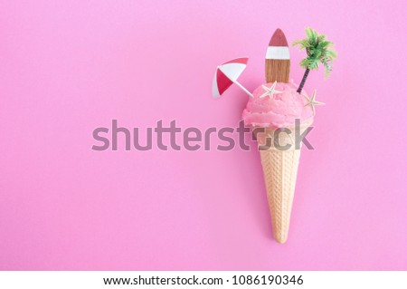 Strawberry icecream with parasol, surfboard and pine tree #1086190346