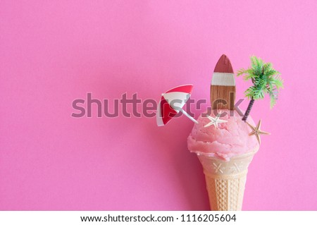 Strawberry icecream with parasol, surfboard and pine tree #1116205604