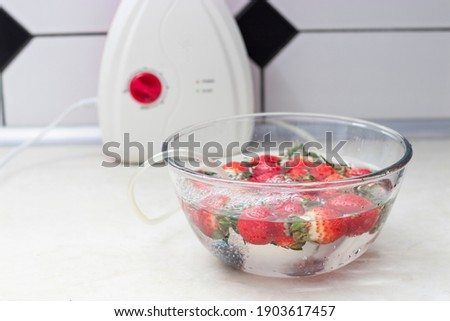 strawberry in a bowl with water with a round ozonating stone. Tubes leading to oxygen pump and ozone generator. ozonation fruit. Food disinfection with ozon Photo stock ©