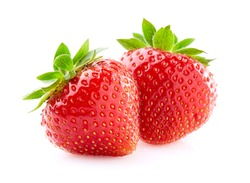 Strawberry in closeup on white background