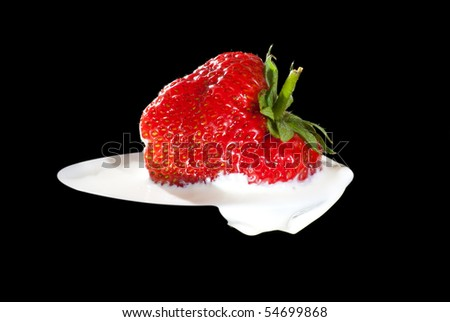 Strawberry in cream. Isolated on black background. Macro photo of a strawberry into heavy whipping cream