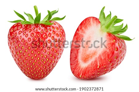 Strawberry isolated on white background. Strawberry collection clipping path. Strawberry macro studio photo