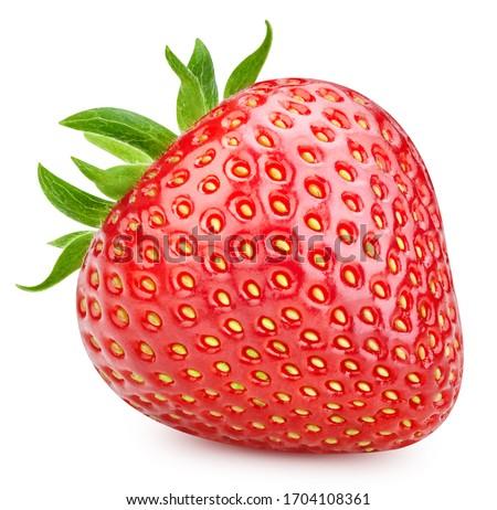 Strawberry isolated on white background. Strawberry fruit clipping path. Strawberry macro studio photo