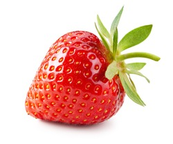 Strawberry isolated on white background. Whole berry