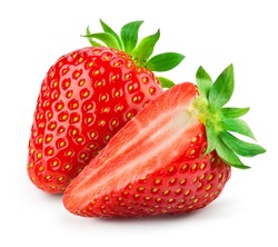 Strawberry isolated. Strawberries isolate. Whole, half, cut strawberry on white. Strawberries isolate. Side view organic strawberries. Full depth of field. With clipping path.