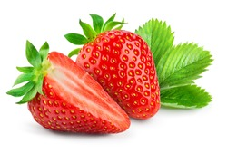 Strawberry isolated. Strawberries with leaf isolate. Whole, half, cut strawberry on white. Strawberries isolate. Side view organic strawberries. Full depth of field.