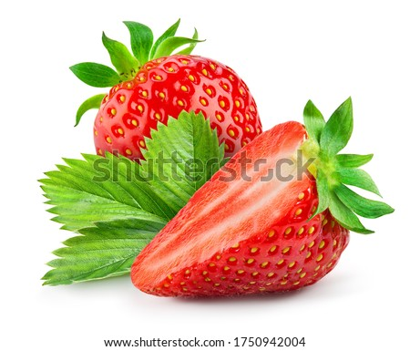 Strawberry isolated. Strawberries with leaf isolate. Whole, half, cut strawberry on white. Strawberries isolate. Side view organic strawberries. Full depth of field. With clipping path.