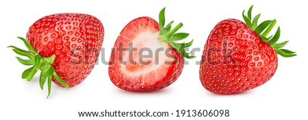 Strawberry isolated. Strawberries with leaf isolate. Whole strawberry and half on white. Strawberries collection.