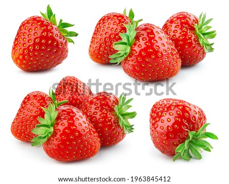 Strawberry isolated. Strawberries with leaf isolate. Whole strawberryon white. Side view strawberries set. Full depth of field.