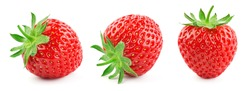 Strawberry isolated. Strawberries with leaf isolate. Whole strawberry on white. Strawberries isolate. Top view strawberries set. Full depth of field.