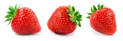 Strawberry isolated. Whole strawberries with leaf on white background. Side view set. Full depth of field.