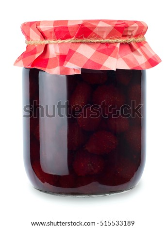 Shutterstock Strawberry jam. Glass jar of strawberry jam isolated on white background. Preserved fruits. Homemade strawberry jam in jar covered with paper