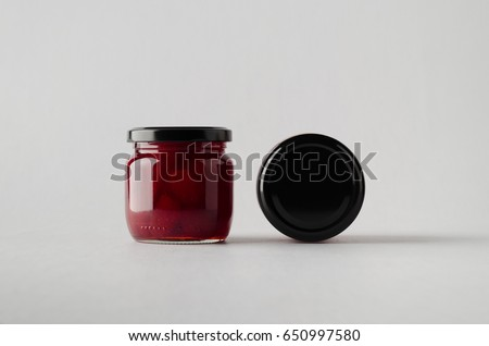 Strawberry Jam Jar Mock-Up - Two Jars #650997580