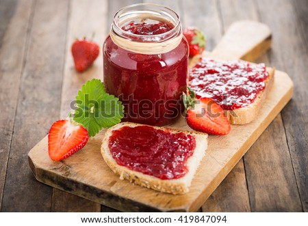 Shutterstock Strawberry jam on the bread