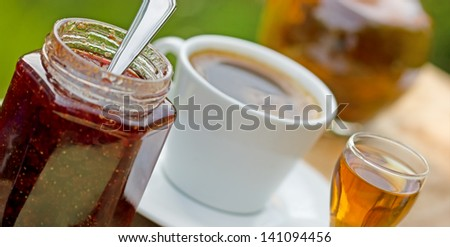 Strawberry jam, plum brandy and coffee