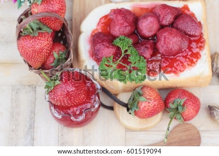 Strawberry jam with slice of bread delicious #601519094