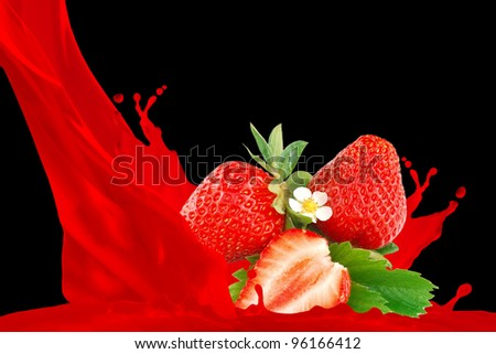 Strawberry juice isolated on black background
