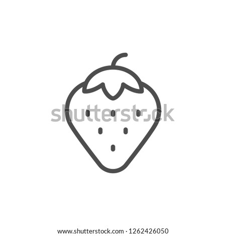 Strawberry line icon isolated on white