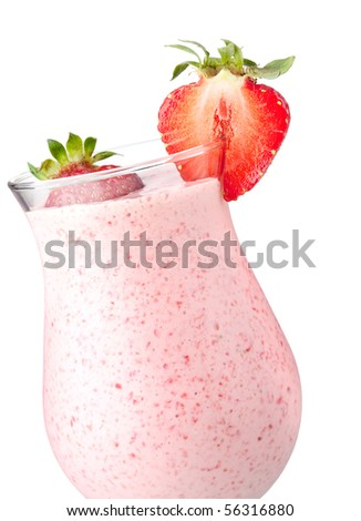 Strawberry milk cocktail. Closeup, isolated on white background