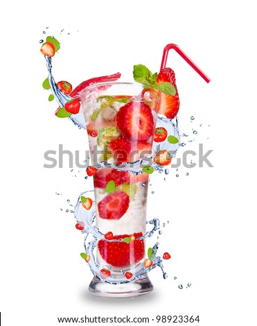 Strawberry mojito drink with splash, isolated on white background