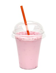 Strawberry or raspberry milkshake mockup or mock up in take away cup isolated on white background