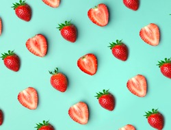 Strawberry. Pattern of strawberrys on colored background.