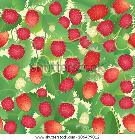 strawberry pattern. Summer floral seamless background.