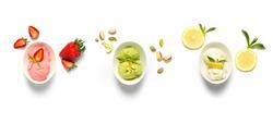 Strawberry, pistachio and lemon ice-cream