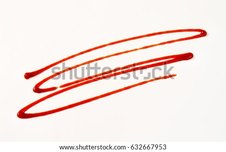 strawberry sauce drizzle on white background #632667953