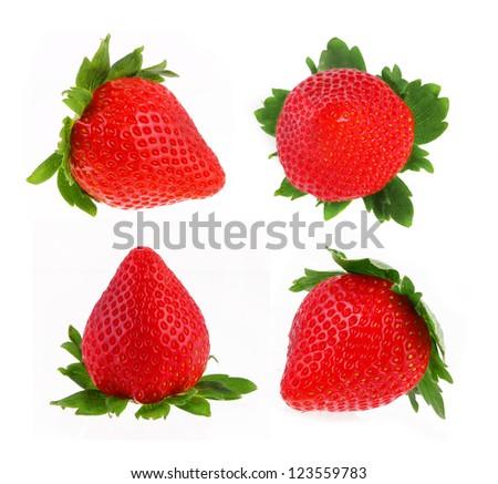 strawberry set isolated on white