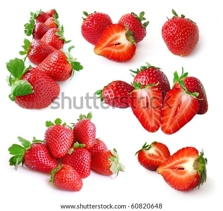 Strawberry set isolated on white