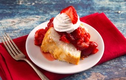 Strawberry Short Cake Made with Angel Food Cake and Strawberry Sauce