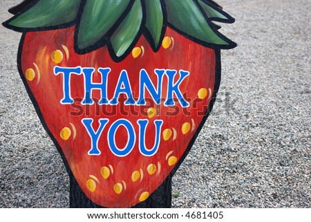 strawberry sign: thank you - stock photo