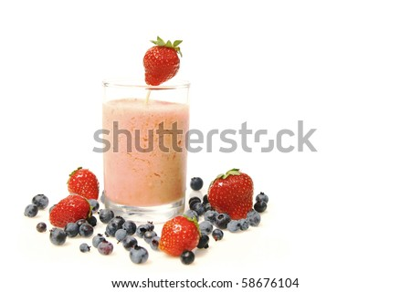 strawberry smoothie and fresh fruits isolated on a white background