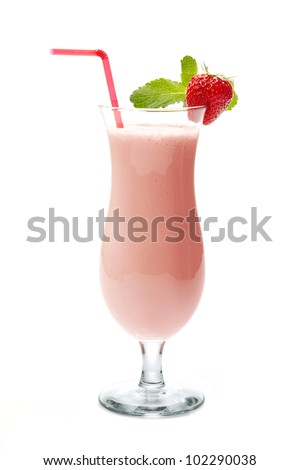 strawberry smoothie in cocktail glass