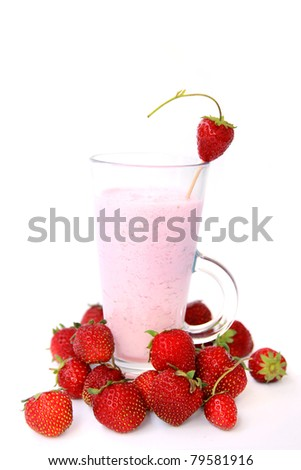 Strawberry smoothie with fresh fruits on a white background