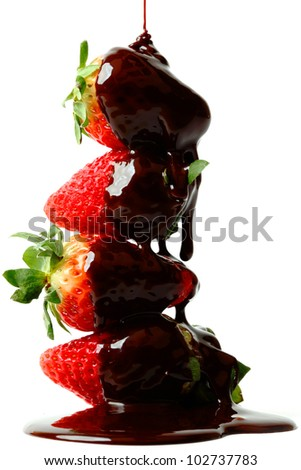 strawberry stack in chocolate  isolated on white