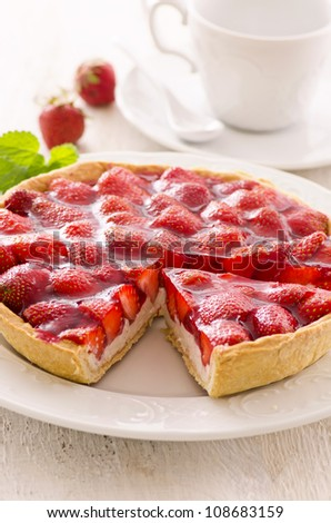 strawberry tart - stock photo