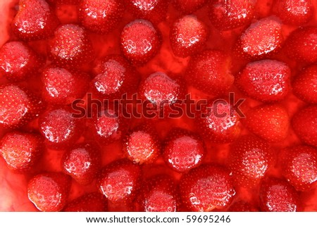 Strawberry Tart in a tart pan - close up of the stuffing