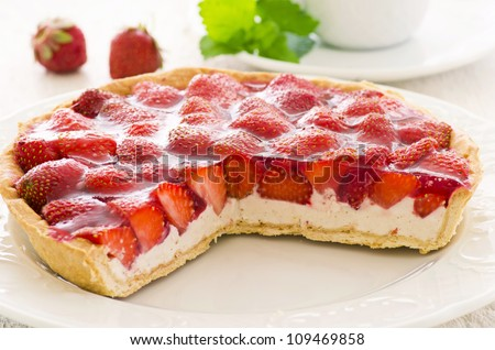 Strawberry Tart With Ricotta Filling Stock Photo 109469858 ...
