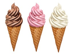 Strawberry, vanilla and chocolate soft ice creams or frozen custard in cone isolated on white background