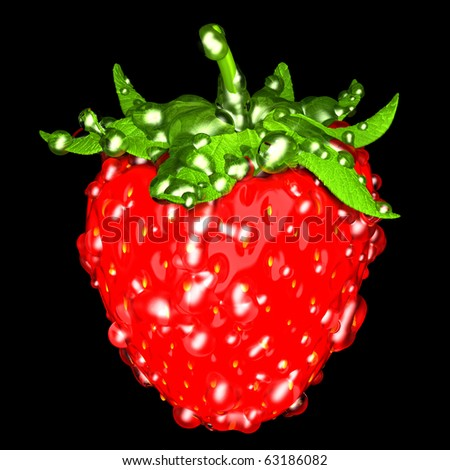 Strawberry with droplets of water isolated over black. Large resolution. Other fruits are in my portfolio