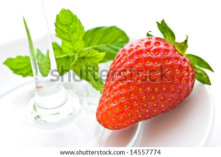 strawberry with mint and glass