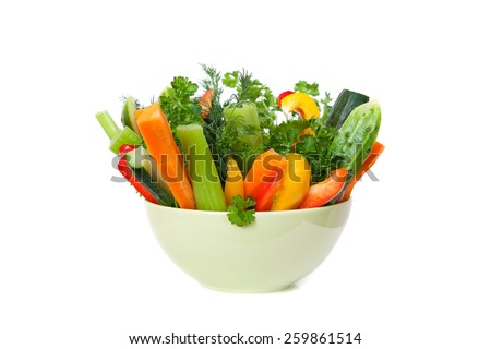straws of fresh vegetables in a bowl #259861514