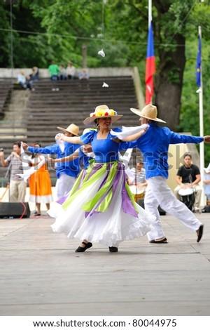 STRAZNICE, CZECH REPUBLIC - JUN 25: Dancers of group Venezuela Teirra de Encanto (Caracas, Venezuela) at International Folk Festival in Straznice Jun 25, 2011 in Straznice, Czech Republic