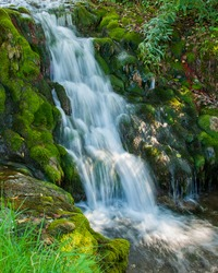 Stream and waterfall through moss covered rocks